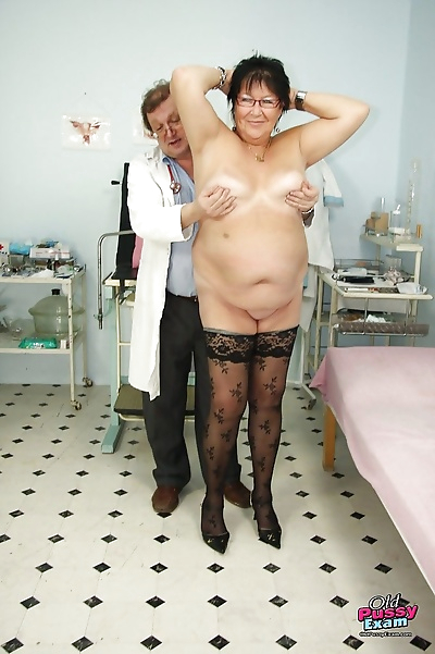 Fatty granny in stockings..