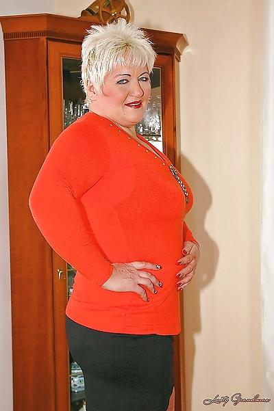Short haired fatty granny..