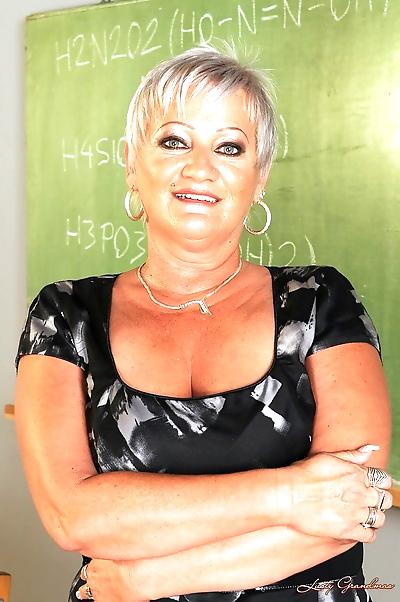Mature blonde teacher Cecily..