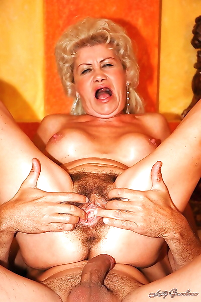 Lusty granny with huge jugs..