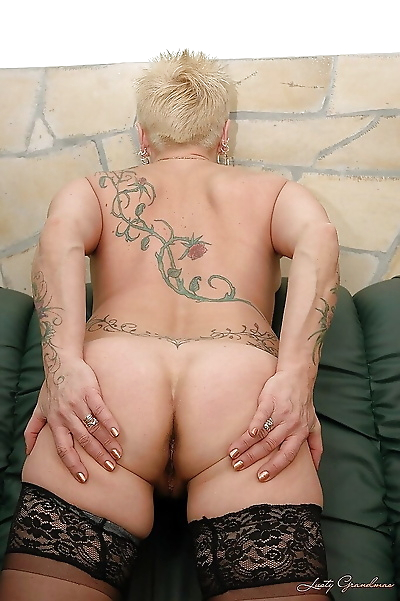 Short haired tattooed granny..