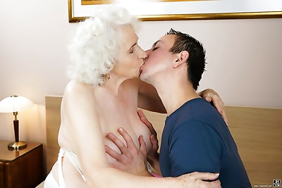 Lusty grandma takes a..