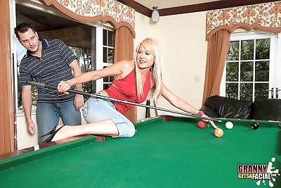 Playing pool with Jenny..