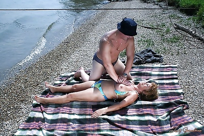Big busted granny in bikini..