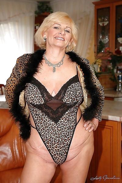 Granny with big tits sucking..