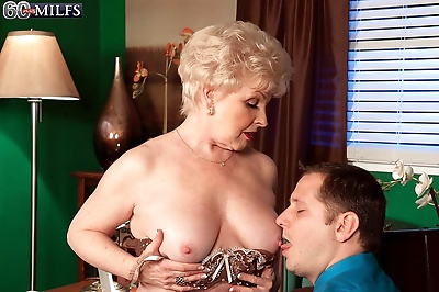 Sexy office granny jewel drilling her pussy with stiff rod - part 725