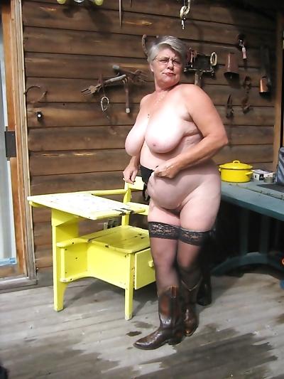 Granny posing in black..