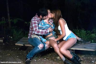 Forbidden sex on an outdoor..