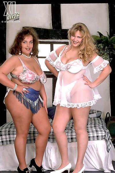 Two big ladies shaking their..