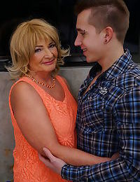 Naughty fat granny gets a whole lot of hot lovin from her young boy toy