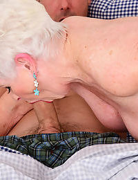 Chubby granny goes really mad with desire and sucks a big cock like a pro
