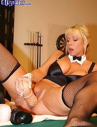 Slut uses large toys on her pooltable - part 3094