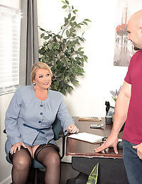Old woman Alice seduces younger guy with a big dick in her office