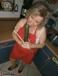 Slutty amateur housewife Caro could not resist masturbating in the kitchen