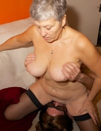 Horny granny Savana sucks younger lover & sits on his face for pussy licking