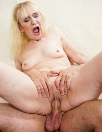 Horny blonde granny piano teacher gets her tight old ass fucked by student