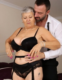 Older granny Savana bares big saggy tits to fuck young mans hard cock cowgirl