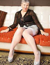 Hot granny Savana in sheer panties licks fatty big tits & flashes bald pussy